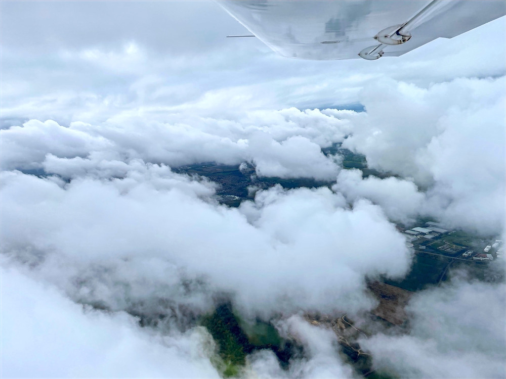 Flying on top of cloud near Seaham on a recent flying lesson