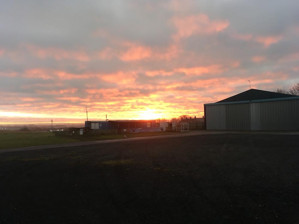 Morning sunrise at Shotton Airfield