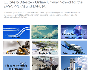 QuizAero Bitesize Online Ground School for the EASA Private Pilot's Licence and Light Aircraft Pilot's Licence.