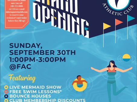 Indoor Pool Grand Opening Event