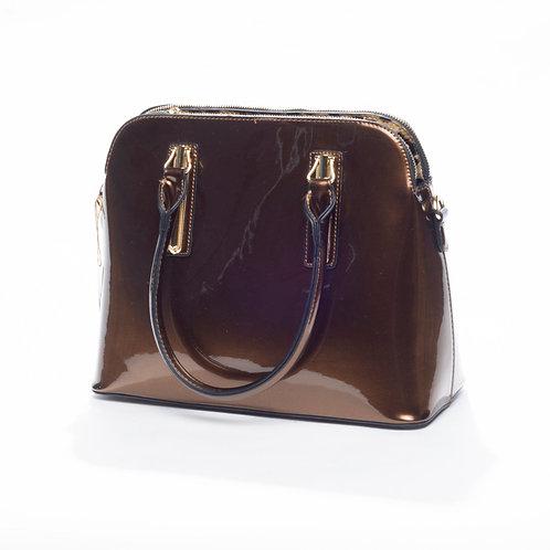 Chocolate Patent Bowler Bag