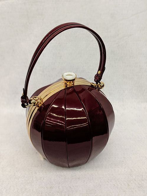 Wine Patent Round Jeweled Rhinestone Clip Top Satchel