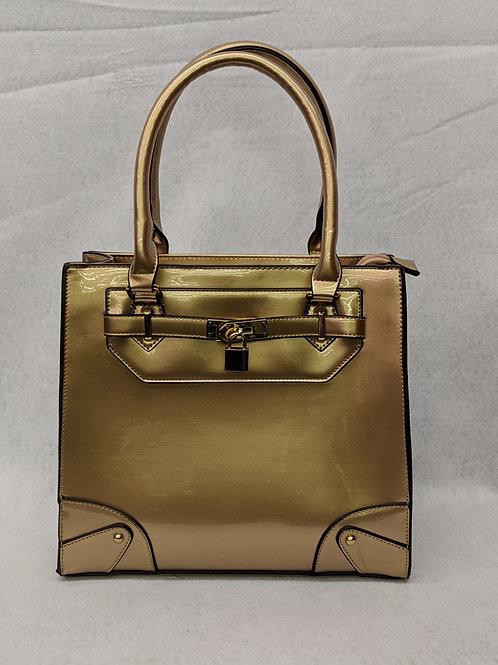 Gold Patent Leather Satchel