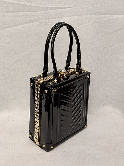 Black Patent Jewel-top Rhinestone Embellished Bag