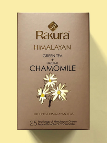 Rakura Himalayan Green Tea + Natural Chamomile (25 Teabags Pack)