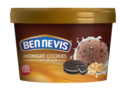 Ben Nevis 100 ml Midnight Cookies Ice Cream - Chocolate Ice Cream With Cookies a