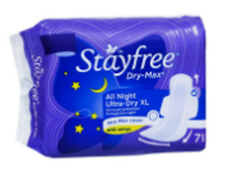 Stayfree Dry-Max All Night, Wings - XL (7 Pads)