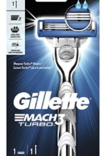 Gillette Mach3 Turbo Men's Razor, Handle & 1 Blade Refill