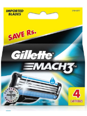 Gillette Mach 3 Manual Shaving Razor Blades - 4s Pack (Cartridge)