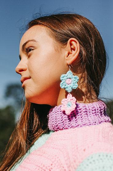 Two tiered crochet flower earrings