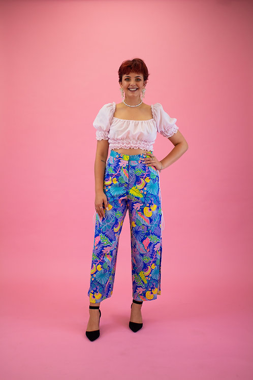 Blue Hawaiian Wide Leg Pants