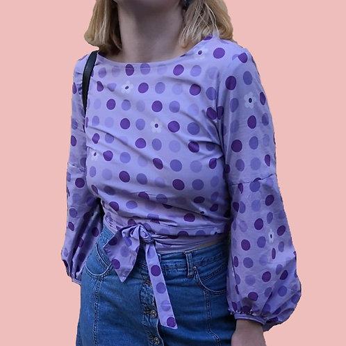 SAMPLE SALE Purple Polka Blouse