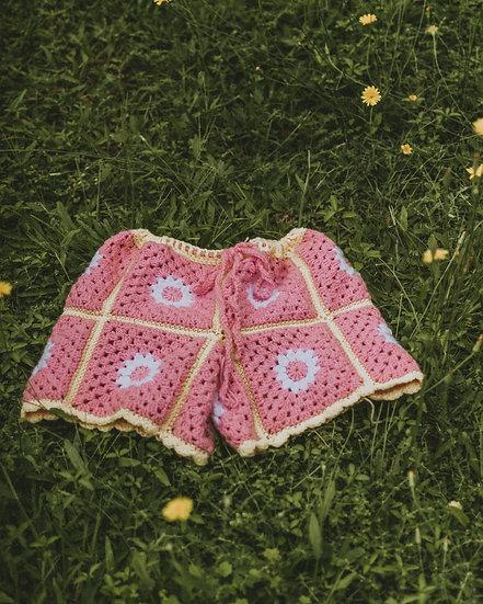 One Off Size XS-M Crochet Daisy Shorts
