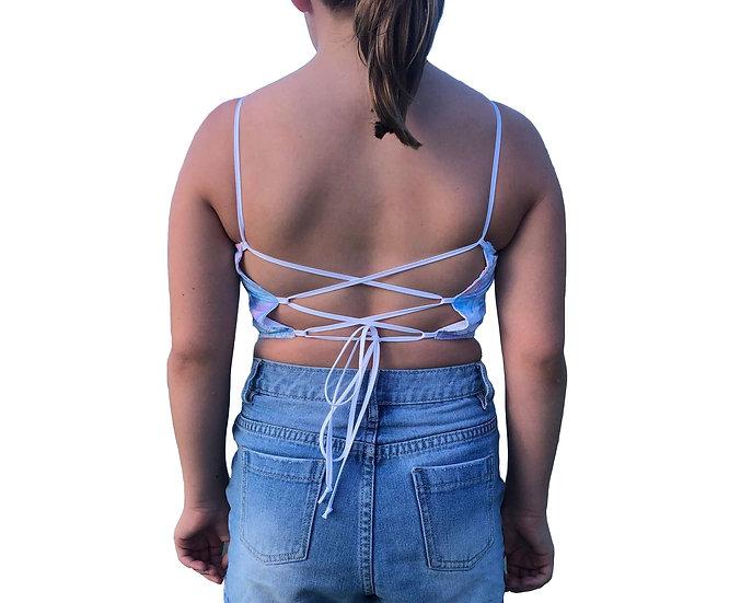 Bluey Pink Reversible Tie Back Crop