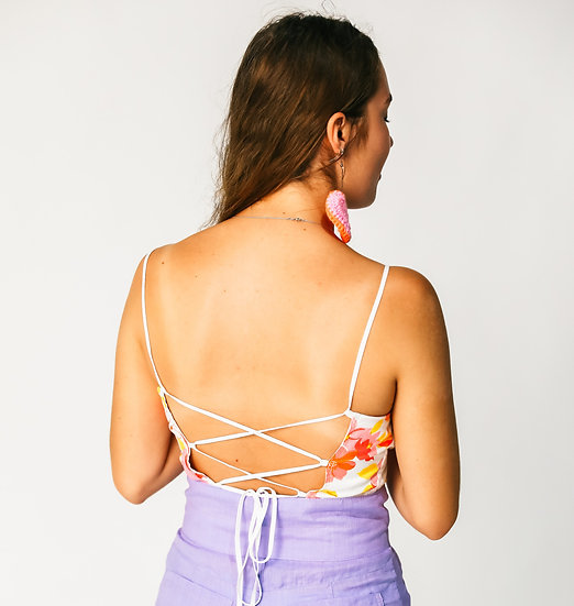Pink Reversible Tie Back Crop