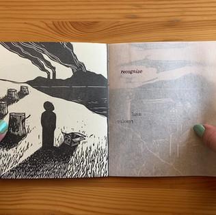 Complicity, 2019, accordian book linocut