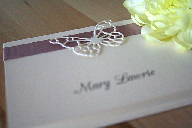 Capercaillie Cards - Wedding name place card - Butterfly Border