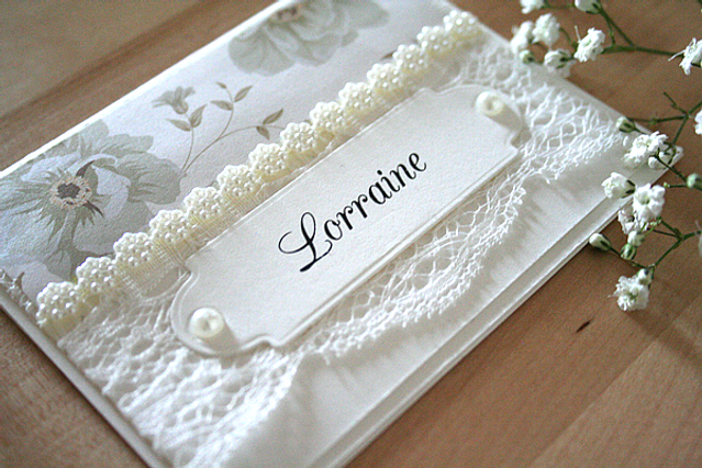 Capercaillie Cards - Wedding name place card - Vintage Marie