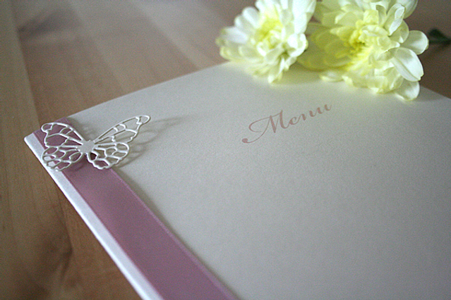 Capercaillie Cards - Wedding menu - Butterfly Border