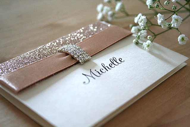 Capercaillie Cards - Wedding name place card - Rose Gold