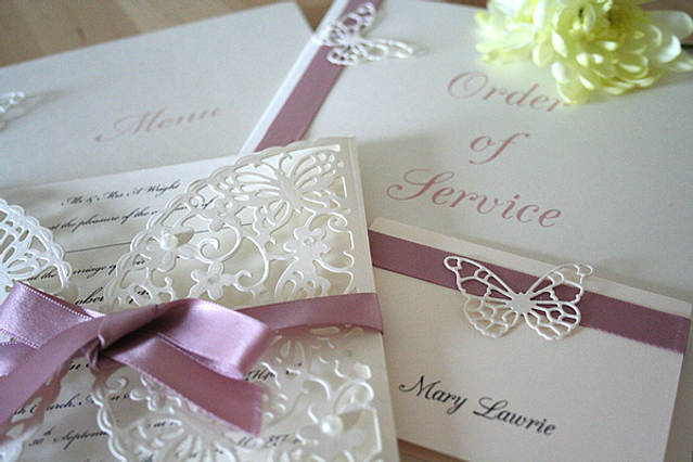 Capercaillie Cards - Wedding stationary - Butterfly Border