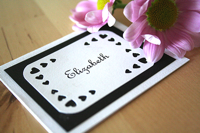 Capercaillie Cards - Wedding name place card - Love Heart Border