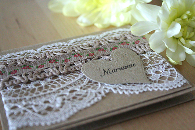 Capercaillie Cards - Wedding name place card - Floral Kraft