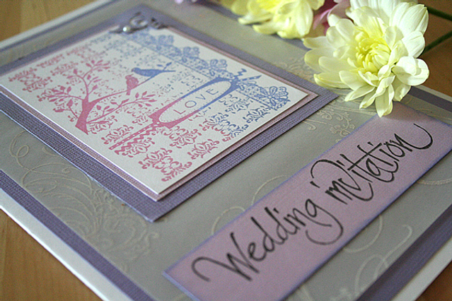 Capercaillie Cards - Wedding invitation card - Purple Love