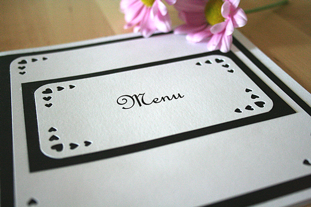 Capercaillie Cards - Wedding menu - Love Heart Border