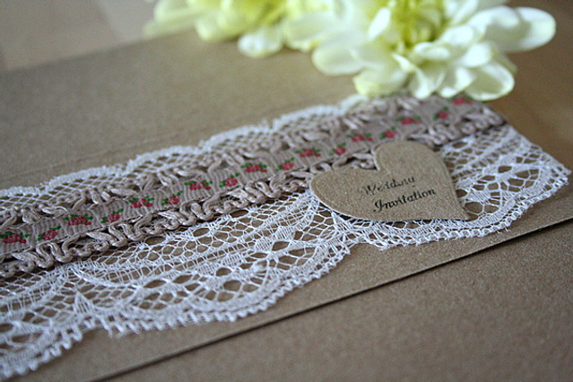 Cappercaillie Cards Floral Kraft wedding invitation card