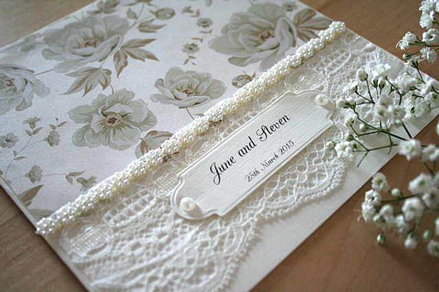 Cappercaillie Cards Vintage Marie wedding invitation card