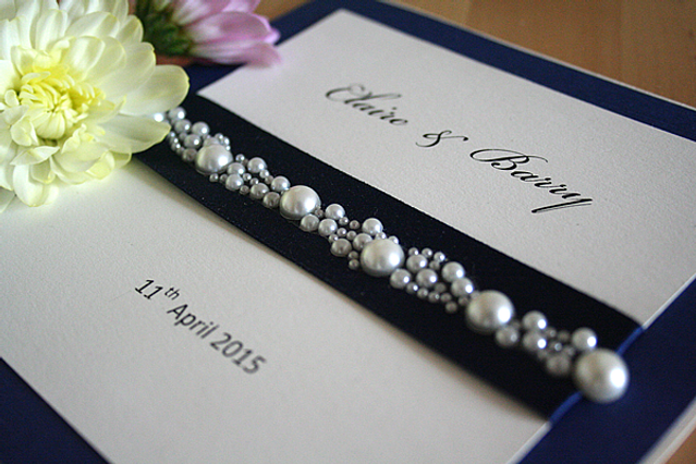 Capercaillie Cards - Wedding invitation card - Pearls, Pearls, Pearls