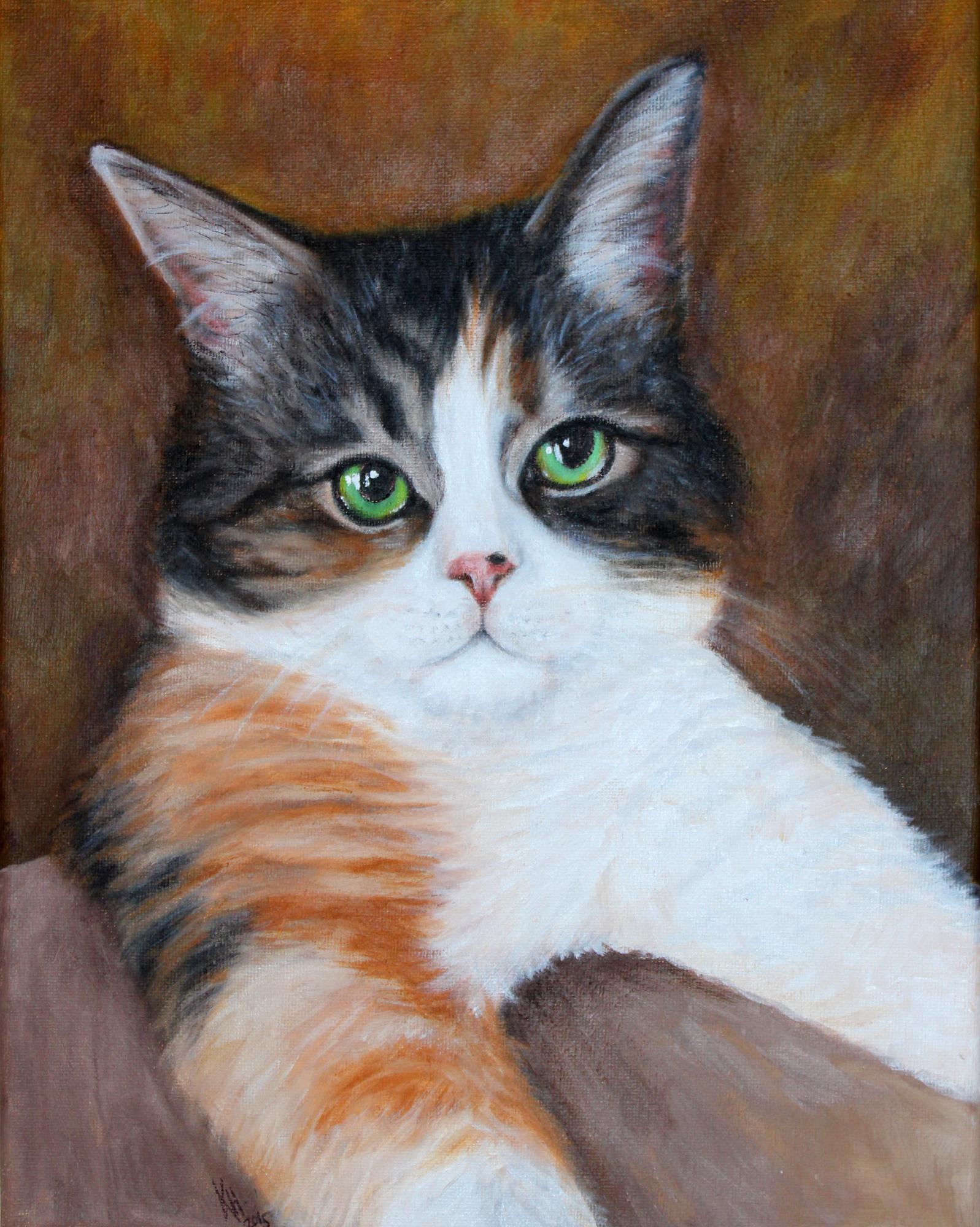 Baby-Bear-Calico-Cat-Painting-Pet-Portra