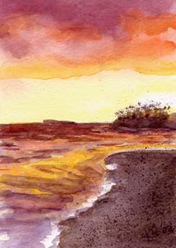 Ocean-Sunset-Shoreline-Landscape-Paintin