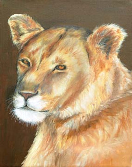 Her-Majesty-Lioness-Painting-Bust-Portra
