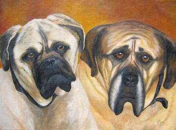 Bosco-and-Rio-Bulldogs-Dog-Painting-Pet-