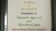 Khantesh Agrawal awarded first prize in IHFC (2019) HY Contest