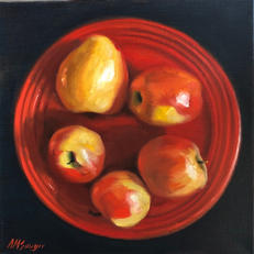 Apples on Red Plate