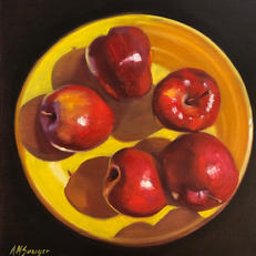 SOLD - Apples on Yellow Plate