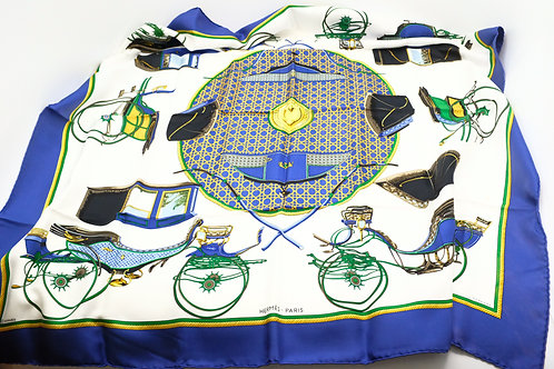 Hermes Carre 90 Les Voitures a Transformation Silk Scarf