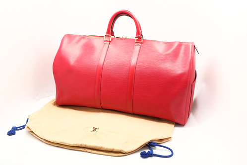 Louis Vuitton Keepall 55 in Red Epi Leather