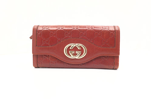 Gucci Guccissima Long Wallet in Red Leather