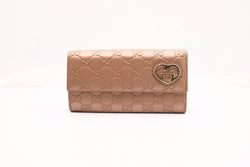 Gucci Guccissima Heart Long Wallet in Pink
