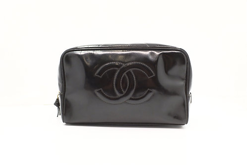 Chanel Cosmetic Pouch in Black Patent Leather