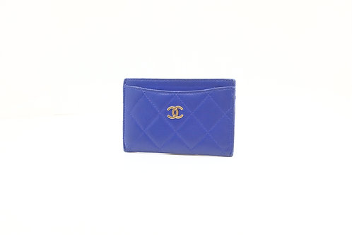 Chanel Matelasse Card Case in Blue Lambskin with Silver Hardware
