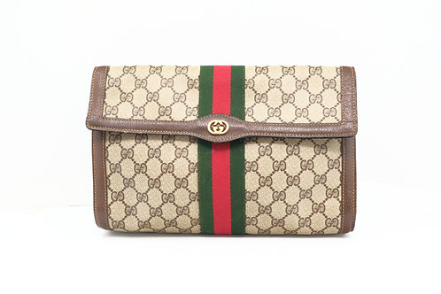 Gucci Sherry Line Ophidia Clutch in GG Supreme Diamante Leather