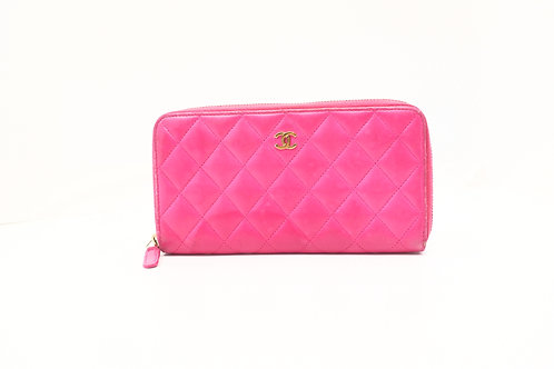 Chanel Long Wallet in Pink Matelasse Leather