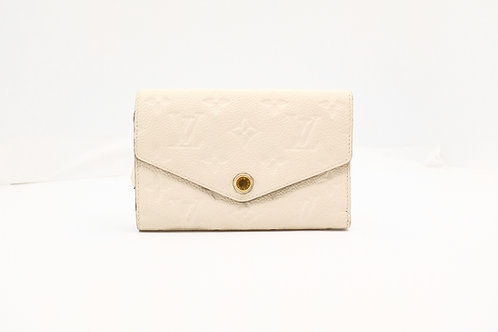 Louis Vuitton Compact Curieuse Wallet in Neige Empreinte Leather