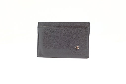 Chanel Camelia Card Case in Black Leather