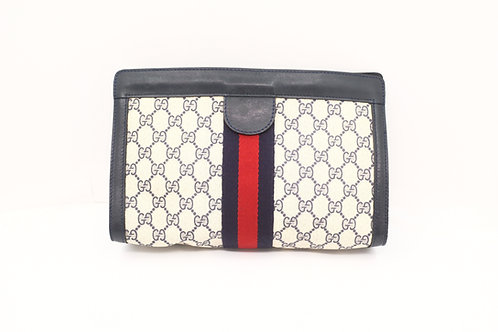 Gucci GG Supreme Coated Canvas Clutch Bag Navy